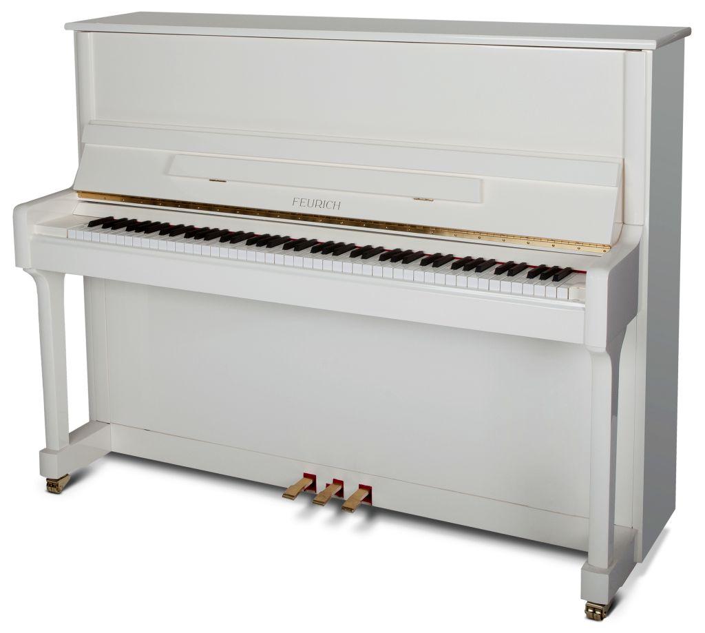 Feurich Klavier Mod. 122 weiß Messing