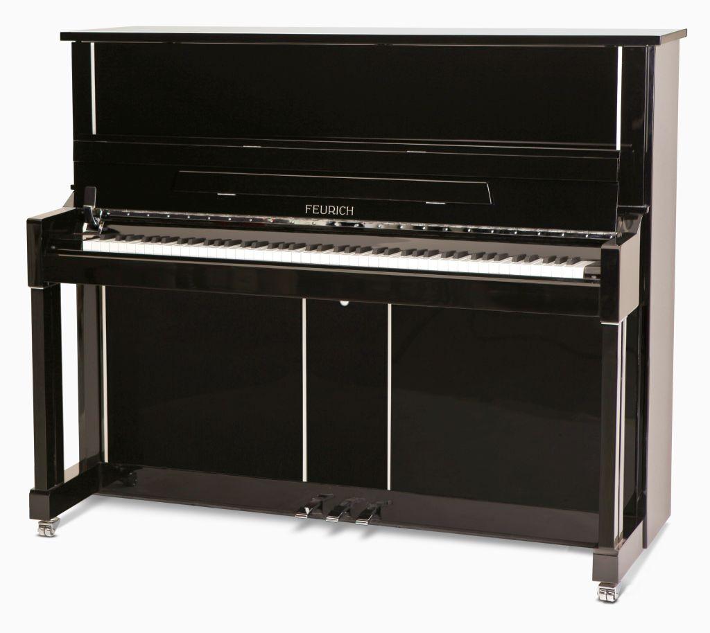 Feurich Klavier Mod. 125 schwarz poliert Chrome