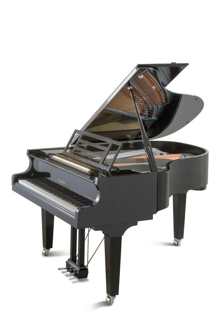 Feurich Klavier Mod. 179 schwarz poliert Chrom LED