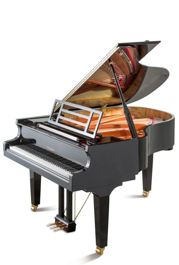 Feurich Klavier Mod. 179 schwarz poliert Messing