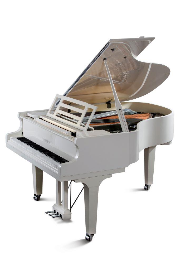 Feurich Klavier Mod. 179 weiß poliert Chrom LED