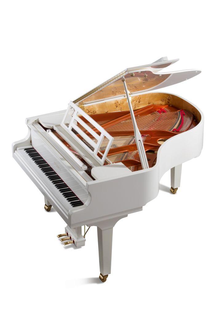 Feurich Klavier Mod. 179 weiß poliert Messing