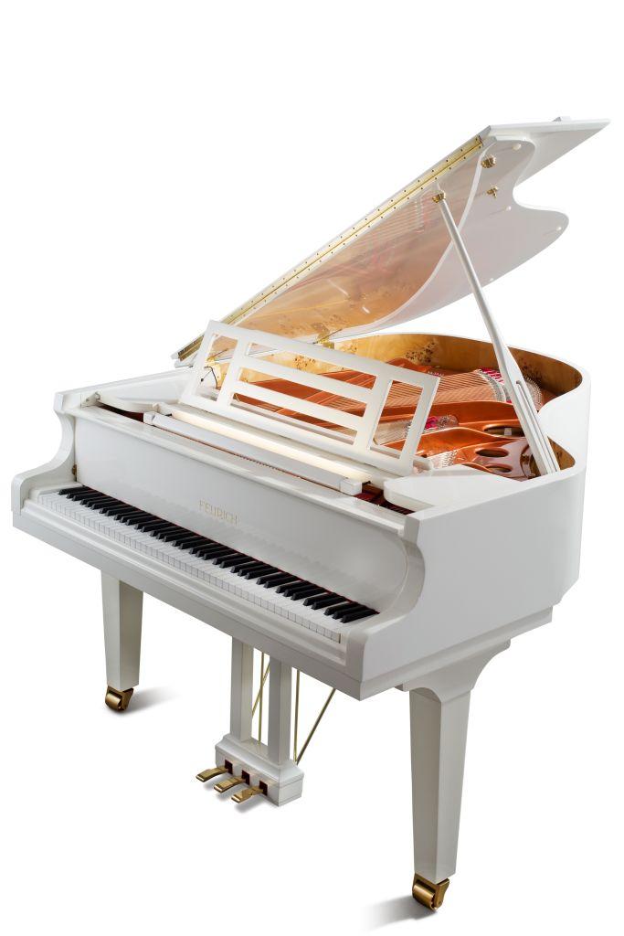 Feurich Klavier Mod. 179 weiß poliert Messing LED