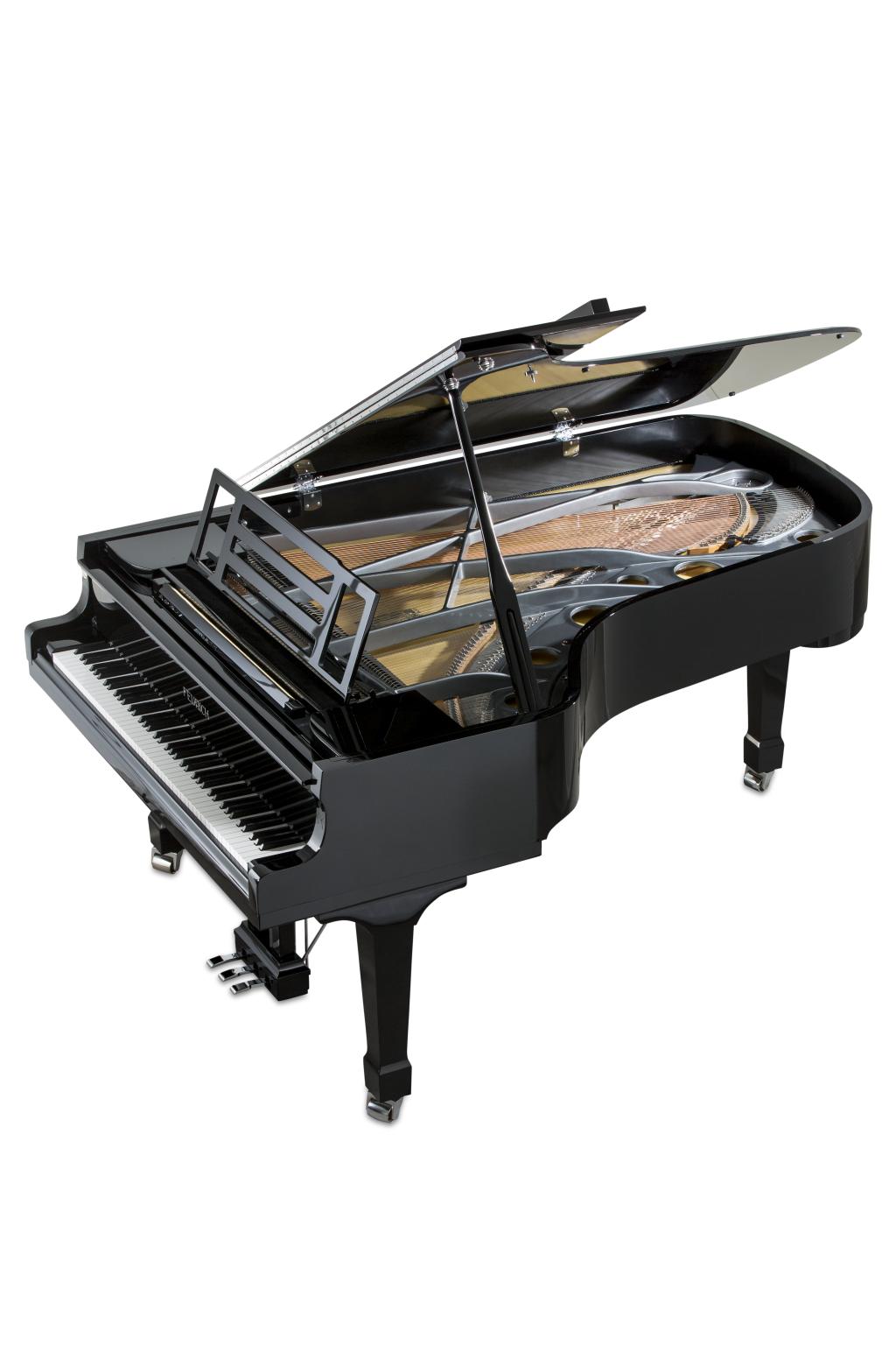 Feurich Klavier Mod. 218 Schwarz poliert - Messing